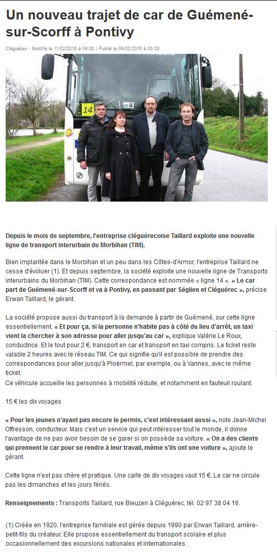 article du 9 février 2016 paru dans Ouest-France