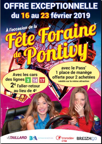 La fête foraine à Pontivy du 16 au 23 février 2019 et les cars BreizhGo
