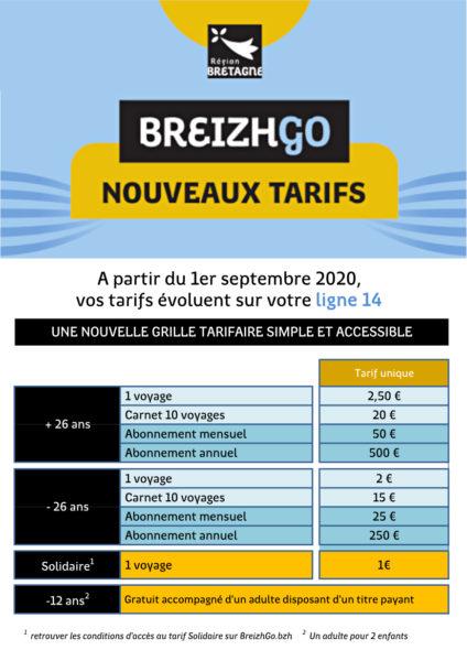 A partir du 1er septembre 2020, vos tarifs évoluent sur votre ligne 14.