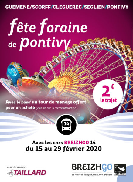 La fête foraine à Pontivy du 15 au 29 février 2020 et les cars BreizhGo